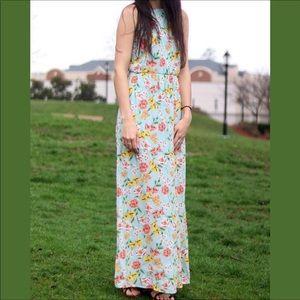 Mint Floral Halter Maxi Dress 💚